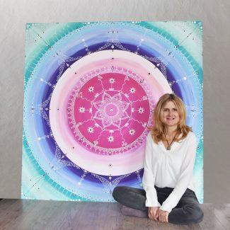 großes mandala für praxis studio gemalt
