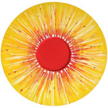 Sonnenkraft - großes energiebringendes Mandala in einem Seminarraum
